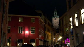 Kyrka i Stockholm sweden Natt ljus lager videofilmer