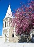 Kyrka och Cherry Blossom Arkivfoto