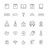 Kyrka och Christian Community Flat Outline Icons vektor för set för tecknad filmhjärtor polar royaltyfri illustrationer
