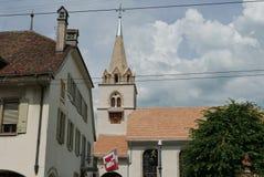Kyrka- och klockatorn i La-Turnera-de-Peiliz arkivfoto