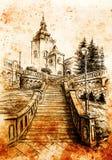 Kyrka och staircaise, blyertspennateckning på papper, tappningeffekt Arkivbild