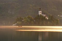Kyrka på Bled ön Arkivbild