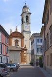 Kyrka på Cernobbio i Italien Arkivbilder