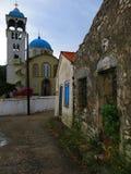 Kyrka på den Exoghi byn, Ithaca ö, Grekland arkivfoto