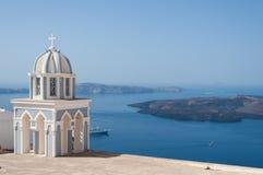 Kyrka på den Santorini ön, Grekland Fotografering för Bildbyråer