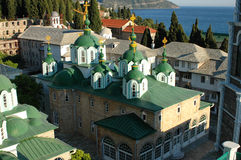 Kyrka på Mount Athos Arkivbild