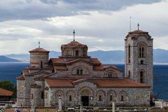 Kyrka på sjön Ohrid Arkivbilder