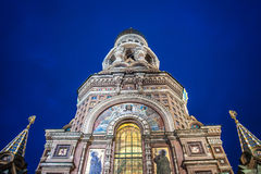 Kyrka på spillt blod i St Petersburg Arkivbilder