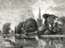 Kyrka på Stratford Burial Place av den Shakespeare illustrationen royaltyfri illustrationer