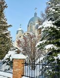 Kyrka Vinterdagar Ternopil ukraine Royaltyfria Foton