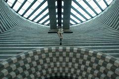Kyrkan av arkitekten Mario Botta på Mogno Royaltyfri Bild