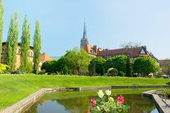 Kyrkan av det heligt korsar, wroclawen, Polen Arkivfoto