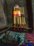 Kyrkan av Gabriel-Rufael - Bete Gabriel-Rufael - i Lalibela, Etiopien arkivbilder