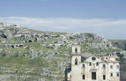 Kyrkan av San Pietro Caveoso i Matera, Italien Arkivbild