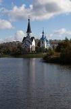 Kyrkan av St George och Kristi födelsen i Pulkovo parkerar St Petersburg Ryssland Royaltyfri Foto