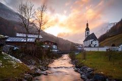Kyrkan av St Sebastian, Ramsau bei Berchtesgaden arkivbild