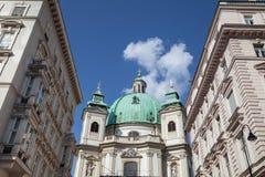 Kyrkan för Peterskirche St Peter ` s i Wien, Österrike, Europa royaltyfria foton