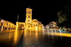 Kyrkan för St Lazarus på natten Larnaca Cypern Arkivbild