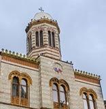 Kyrkan från den fyrkantiga Piata Sfatului center stad gammala romania för brasov Royaltyfri Foto