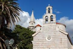 Kyrkan i den gamla staden av Budva, Montenegro Royaltyfri Fotografi
