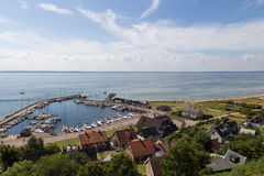 Kyrkbacken harbor on island Ven Royalty Free Stock Photography