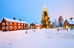 Kyrklig by av Gammelstad Royaltyfri Foto