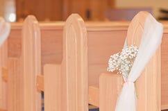 Kyrklig bröllopdetalj Arkivfoto