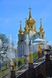 Kyrklig byggnad och den stora springbrunnen applåderar i Peterhof, St Petersburg, Ryssland Arkivbilder