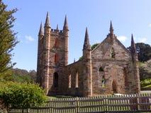 Kyrklig byggnad på port Arthur Hobart Tasmania Arkivbild
