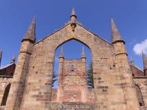 Kyrklig byggnad på port Arthur Tasmania Arkivfoton