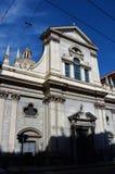 Kyrklig byggnad på via XX Settembre - Genoa Landmarks fotografering för bildbyråer