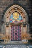 kyrklig dörrprague vysehrad Fotografering för Bildbyråer