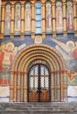 Kyrklig facade för antagande. Moscow Kremlin. Arkivfoton