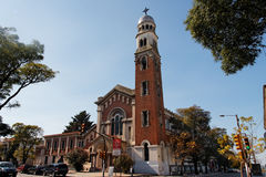 kyrklig facade montevideo Arkivfoto