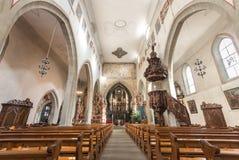 Kyrklig (Franziskanerkirche) inre för Franciscan, Lucerne - Switz arkivbild