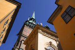 kyrklig gamla tyska stan stockholm royaltyfri bild