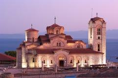 kyrklig gammal macedonia nattohrid Arkivbilder