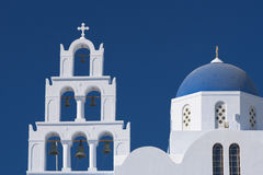 kyrklig greece santorini Arkivbilder