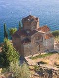 kyrklig kaneolake nära ortodox st för ohrid Royaltyfri Bild