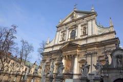 kyrklig krakow paul peter poland st Royaltyfria Bilder