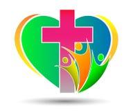 Kyrklig logo för familj med formad hjärta Royaltyfria Bilder