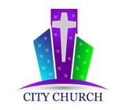 Kyrklig logo för stad med byggnader Royaltyfri Fotografi