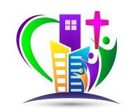Kyrklig logo för stad med familjen med formad förälskelsehjärta Royaltyfri Foto
