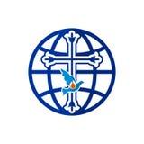 Kyrklig logo Korset av Jesus, jordklotet av världen och duvan vektor illustrationer