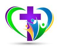 Kyrklig logo med familjen med formad förälskelsehjärta Arkivbilder