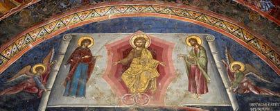 kyrklig målningsvägg royaltyfria bilder