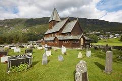 kyrklig norsk notsystem Roldal historiskt byggande Norge touris royaltyfri foto