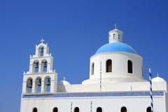 kyrklig ortodox santorini Royaltyfria Bilder