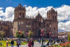Kyrklig Plaza de Armas Cuzco Peru för domkyrka Fotografering för Bildbyråer