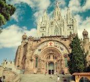 Kyrklig sakral Heart.Tibidabo. Barcelona. Arkivbilder